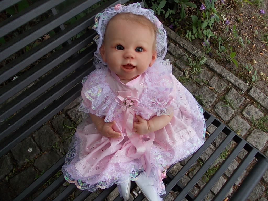 Reborn baby girl doll - DeeDee by Linda Murray.  Reborn by artist Sharla Field