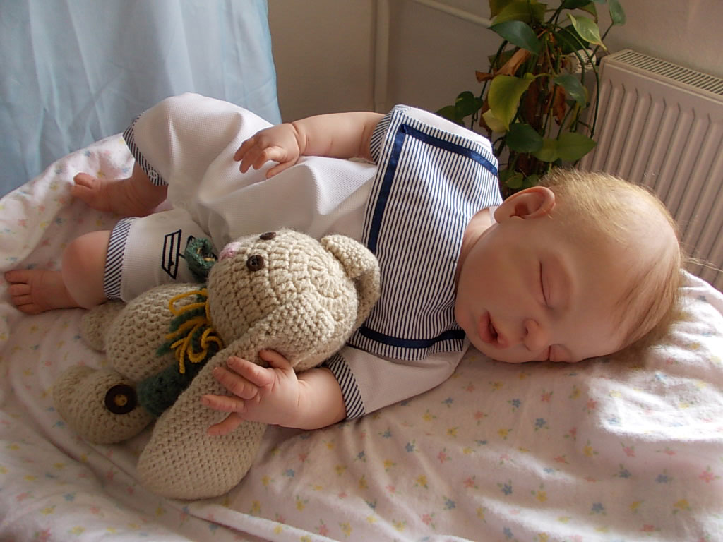 Reborn baby boy Graham, was Henry by Sheila Michael.  Reborn by Sharla Field of Silvery Moon Cherubs