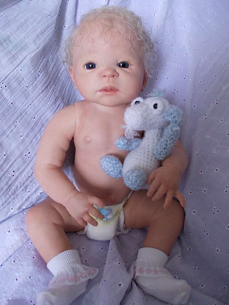 Reborn baby girl doll Victoria by Sheila Michael.